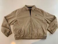 VTG POLO RALPH LAUREN Men's Tan Full Zip Casual Horse Logo Jacket Size 2XL