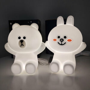 Touch Night Lights Bear Brown Cony Rabbit LED USB Kids Baby Night Lamp Friends