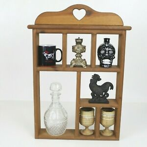 Vintage Wooden Knick Knack Hanging Display Wall Shelf With Cut Out Heart
