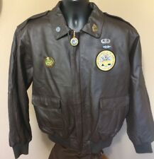 *Brown Leather Bomber Jacket Burks Bay L Army patch  metal pin Zip Pull Charm