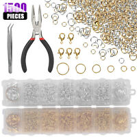 1500x 4MM-10MM DIY Making Jewelry Findings Jump Rings Connector Kit Gold Silver