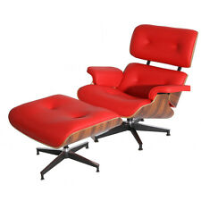 Plywood Lounge Chair Ottoman ROSEWOOD 100% Genuine RED GRAIN Italian Leather