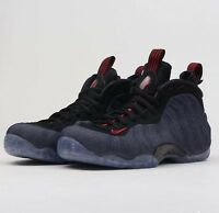 Nike Air Foamposite One Denim 314996-404 Obsidian Black Red Mens Basketball Shoe