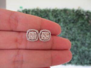 1.20 CTW Diamond Earrings 18K White Gold E265 sep