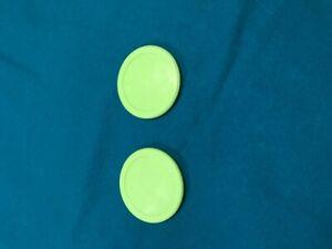 """-New- 2 Fluorescent Green 2 1/2"""" Air Hockey Pucks"""