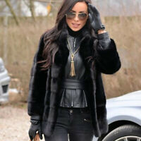 Top Quality Women's Whole Skin Real Mink Fur Coat Jacket Stand Collar Overcoat