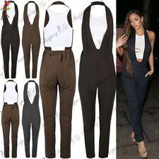 Polyester Plus Size Halterneck Women's Jumpsuits & Playsuits
