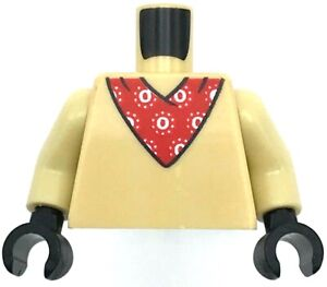 Lego New Tan Minifigure Torso with Red Bandana White Pattern Black Hands