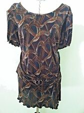 New Connected 18W woman blouse top brown print color crinkle sash stretch size