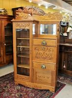 American Oak Antique Side By Side Bookcase / Drop Front Desk / Display Cabinet