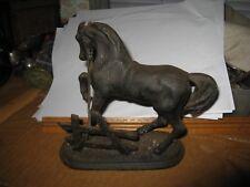 Vintage Bronze Horse Tugging Reins on Fence Signed on Base M 1951 After PJ Mene