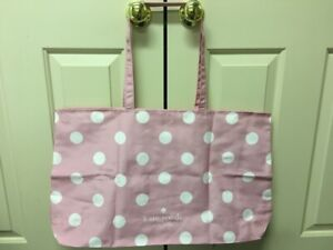 New Kate Spade New York Extra Large Pink Dot Foldable Shopper Tote