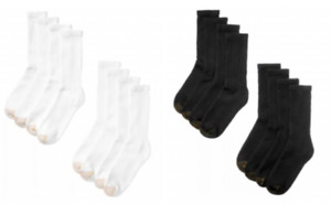 2 of 8 packs GOLD TOE Men's Cotton Standard Crew Socks, shoe 6-12½, Black/White