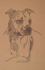 American Pit Bull Terrier Dog Art #46 Stephen Kline adds dogs name free. Gift