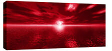 "LARGE RED TONED SEASCAPE SUNSET CANVAS PICTURE 44""x20"""