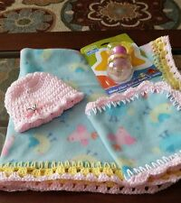 Cute chic a dee's crocheted fleece baby blanket with Hat, burp cloth and toy