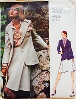 Vogue Americana ANNE KLEIN #2825 ~ Vtg 70's Jacket Skirt Shirt Sew Pattern Sz14