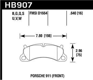 Hawk Performance HB907B.640 HPS 5.0 Disc Brake Pad Fits 12-16 911 Boxster