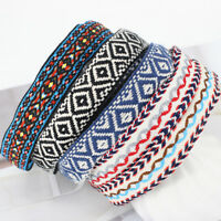 Vintage Women Bohemian Ethnic Embroidery Flower Headband Elastic Hair Band LD