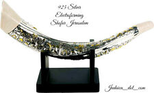 Silver Plated Giant Shofar Gold Jerusalem Ivory Enamel With Stand Judaica Gift