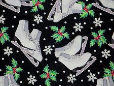 ICE SKATING SKATE SILVER METALLIC HOLLY DAVID TEXTILE 100% COTTON FABRIC YARDAGE