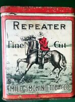 Vintage REPEATER Smoking Fine Cut Cigarette & Pipe Tobacco Hinged Tin Can
