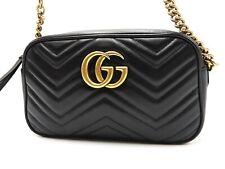 GUCCI GG Marmont Crossbody Shoulder Bag Quilting Leather Black Gold 447632 V5237
