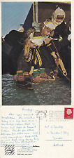 1955 GIRLS IN NATIONAL COSTUMES MARKEN NETHERLANDS COLOUR POSTCARD