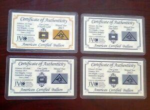 ACB Gold Silver Platinum Palladium 1GRAIN Combo Pack BULLION Bars w/COA's;,,