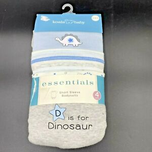 Koala Baby Essentials Short Sleeve Bodysuits size 3-6 Mos 4 Pack NOS Dinosaur KC