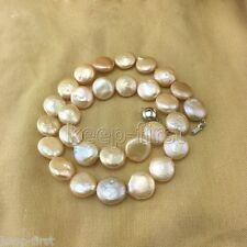 AAA++ Genuine Natural 11-12mm Pink Freshwater Coin Pearl Necklace 18""