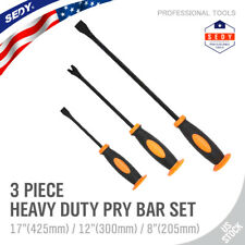 """3 Curved Pry Bar Set Carbon Steel Crowbar Nail Puller Chisel 8,12,17"""" Heavy Duty"""