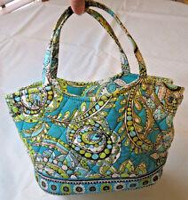 Vera Bradley purse womens ladies shoulder bag aqua green white brown GUC
