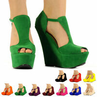 NEW FASHION PLATFORM SHOES LADIES WOMEN PARTY HIGH HEEL WEDGES SIZE 3 - 8