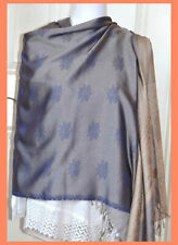 Angkor Wat Temple Blue Gray Color Silk shawl, Wrap, Stole from Cambodia!