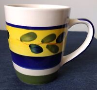 ALCO INDUSTRIES ~ Large Coffee Mug ~ AOI14 ~Blue, Yellow, Green Rings on White