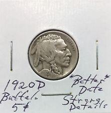 1920 D Buffalo Nickel ~ *Better Date* ~ Strongly Detailed Original Coin