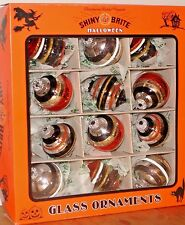 SHINY BRITE Halloween Glass Ornaments Set of 12 by Radko Various Shapes Glitter
