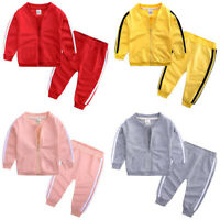 Baby Kids Boy Girl Top+Pants Jacket Outfit Tracksuit Sportswear Clothes Set Coat