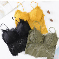 Womens Lace Floral Bustier Crop Top Padded Bra Vest Bralet Camisole Tank Tops SZ