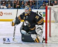 """Linus Ullmark Buffalo Sabres Unsigned Blue Jersey in Net 8"""" x 10"""" Photo"""