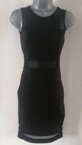 Ladies H&M Black Bodycon Mesh Panels Dress Size 8