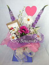 Artificial Silk Flower Box Bouquet Gift Daisy Country Mix Hospital Flowers Faux