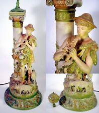 Antique ROYAL DUX Porcelain SHEPHERD Table LAMP Statue ART NOUVEAU Figurine GOAT