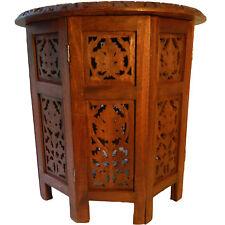 Mesa auxiliar dos partes pie octogonal 46 cm madera tallada muebles decorar