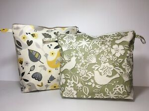 UK Hand Made Fully Lined Bird Theme Oilcloth Wash-bags in Portrait or Landscape