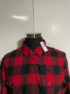 NWT American Eagle Men's Plaid Lumber Jack Flannel Shirt Size XL (Red And Black)