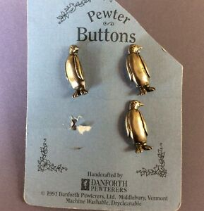 3 Danforth Pewter Penguin Buttons On Partial Store Card
