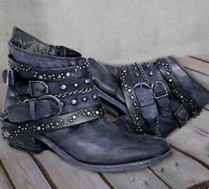 US10.5 Womens Round Toe Beaded Rivet Combat Riding Shoes Buckle Metal Chain2020