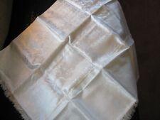 Vintage White Satin Tea Tablecloth - Fringe - Japanese Garden Scenes - Pagodas